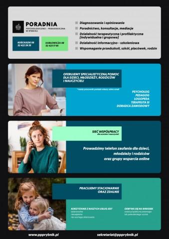 Plakat przedstawia informacje w zakresie udzielanego wsparcia przez publiczne poradnie psychologiczno - pedagogiczne