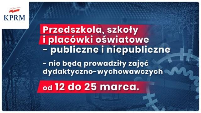 Szkoły zamknięte od 12 do 25 marca 2020 r.